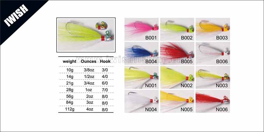 High Quality Custom Saltwater Head Bucktails Jigs Jig Fishing