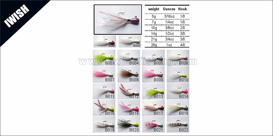 Mylar Tinsel Wrpped Walleye Bucktail Jig Wholesale
