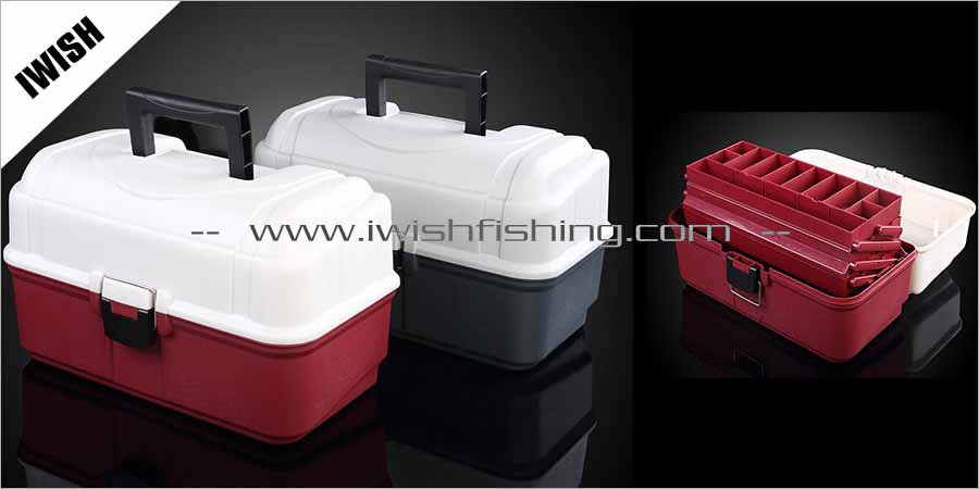 Red and Green Color Outdoor Industry Three Tray Fishing Tackle Boxes